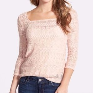 LUCKY BRAND Light Baby Pink Lace Tee 3/4 Sleeve